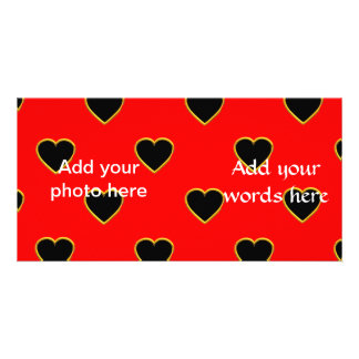 Black Hearts on a Red Background Love and Romance Photo Cards