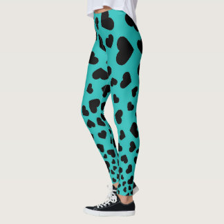 Black Hearts & Teal Yoga Leggings