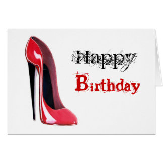 Black heel, red stiletto shoe card