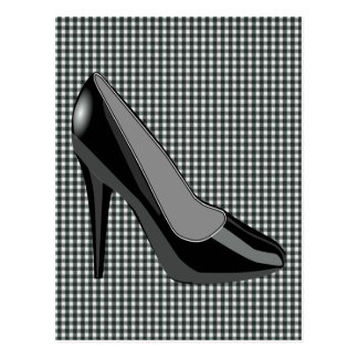 BLACK HEELS SHOE - BLACK GINGHAM BACKGROUND POSTCARD