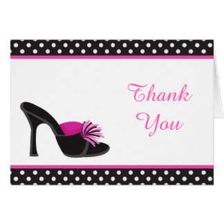 Black Heels Shoes with Black Polka Dots Thank You Card