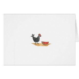 Black Hen With Watermelon Card