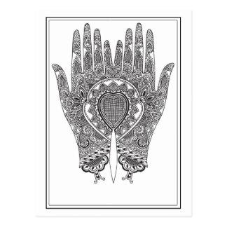 Black Henna Hands Postcard