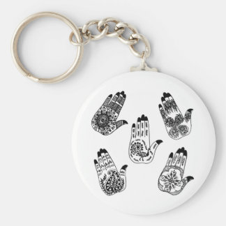 Black Henna Tattoo Hands Basic Round Button Keychain