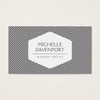BLACK HERRINGBONE PATTERN Designer Business Card