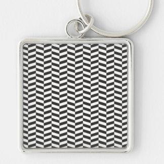 Black Herringbone Silver-Colored Square Keychain