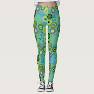 Black Hexagon Attack on Spring Green! Leggings