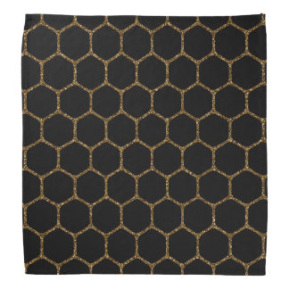 Black Hexagon Pattern in Gold Glitter Frame Bandana