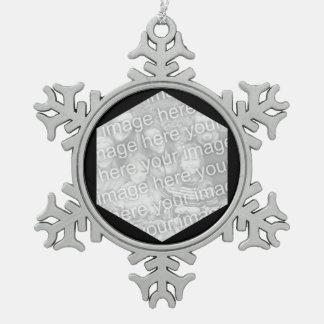 Black Hexagon Photo Border Pewter Snowflake Ornament