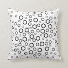 Black Hexagons. Pattern. Throw Pillow
