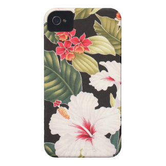 Black Hibiscus Hawaiian Aloha Shirt Retro iPhone 4 iPhone 4 Covers