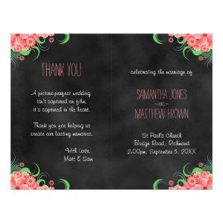 Black Hibiscus Pink Floral Bi-Fold Wedding Program Full Color Flyer