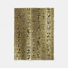 Black hieroglyphs pattern on Ancient Gold Fleece Blanket
