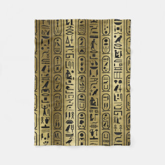 Black hieroglyphs pattern on Ancient Gold Fleece Blanket