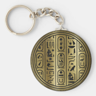 Black hieroglyphs pattern on Ancient Gold Keychain