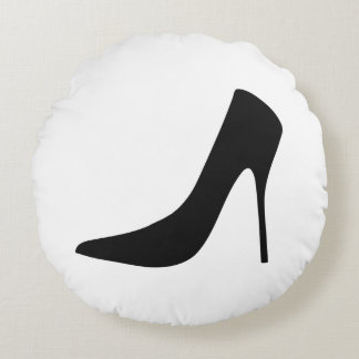 BLACK HIGH HEELS AND POLKA DOTS Round Pillow