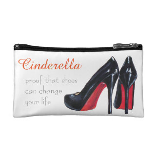 Black High Heels with Red Soles Makeup Bags