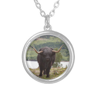 Black Highland cattle, Scotland Silver Plated Necklace