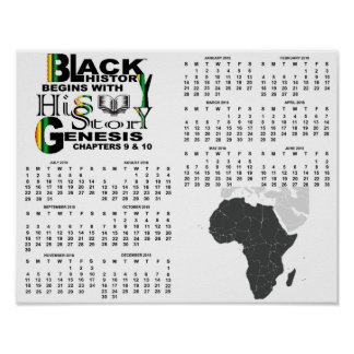 Black History Begins w/His-Story Poster Calendar