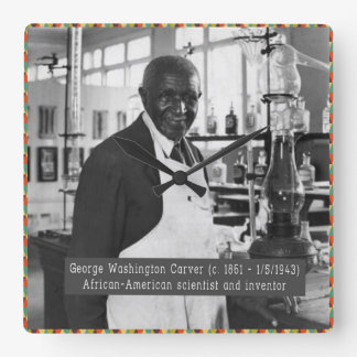 Black History Clock: George Washington Carver Square Wall Clock