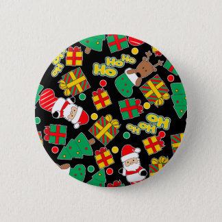 Black - Ho Ho Santa 2 Inch Round Button