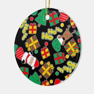 Black - Ho Ho Santa Ceramic Ornament