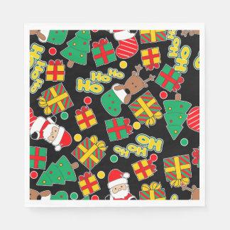 Black - Ho Ho Santa Paper Napkin
