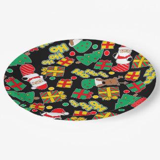 Black - Ho Ho Santa Paper Plate