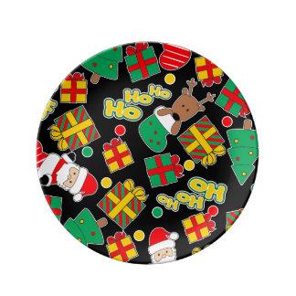 Black - Ho Ho Santa Porcelain Plates