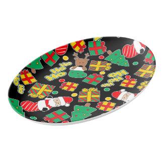 Black - Ho Ho Santa Porcelain Serving Platter