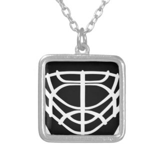 Black Hockey Mask Silver Plated Necklace