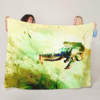 Black Hole Galaxy Grunge Satin Print Fleece Blanket