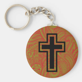 Black Holy Christian Cross Floral Pattern Keychain