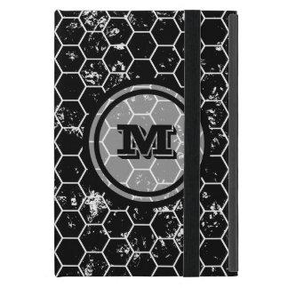 Black Honeycomb Geometric Monogram iPad Mini Cases