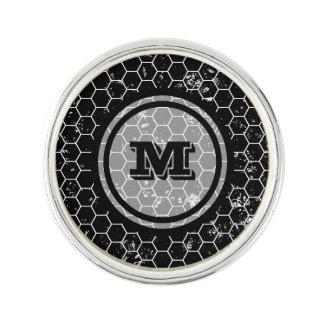 Black Honeycomb Geometric Monogram Lapel Pin
