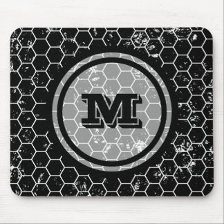 Black Honeycomb Geometric Monogram Mouse Pad