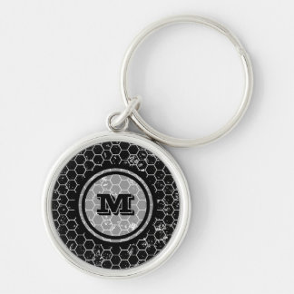Black Honeycomb Geometric Monogram Silver-Colored Round Keychain