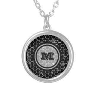 Black Honeycomb Geometric Monogram Silver Plated Necklace