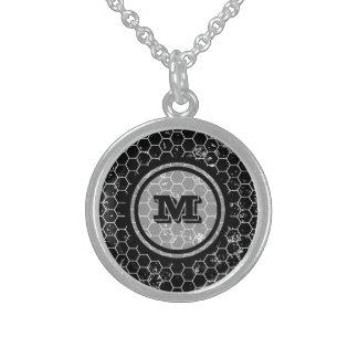 Black Honeycomb Geometric Monogram Sterling Silver Necklace