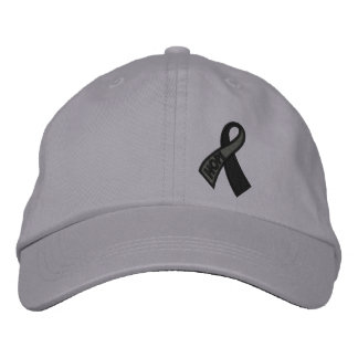 Black Hope Cancer Ribbon Awareness Embroidered Hat