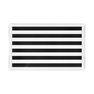 Black Horizontal Stripes Acrylic Tray