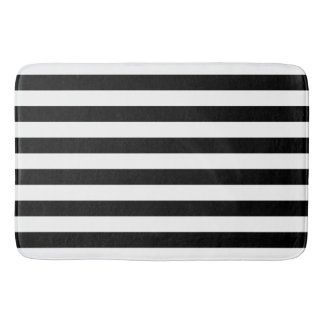 Black Horizontal Stripes Bath Mat