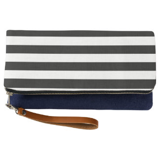 Black Horizontal Stripes Clutch