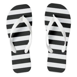 Black Horizontal Stripes Flip Flops