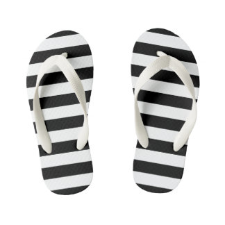 Black Horizontal Stripes Kid's Flip Flops