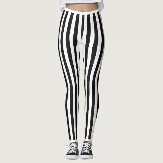 Black horizontal Stripes. Leggings