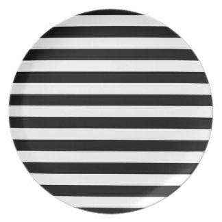 Black Horizontal Stripes Party Plate