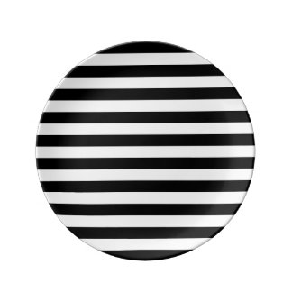 Black Horizontal Stripes Porcelain Plates