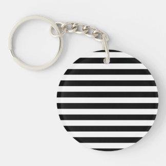Black Horizontal Stripes Single-Sided Round Acrylic Keychain