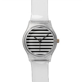Black Horizontal Stripes Wrist Watches